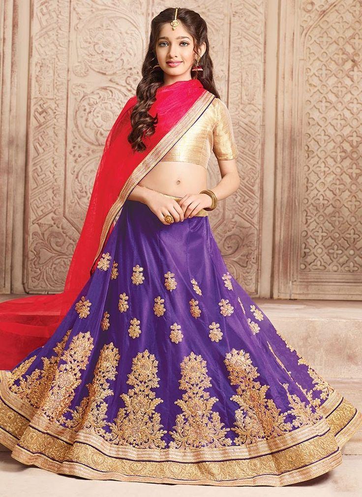 Purple Net #GirlsLehengaCholi With Embroidered,Lace Works. Order Girls Lehenga Choli Online @Chennaistore.com