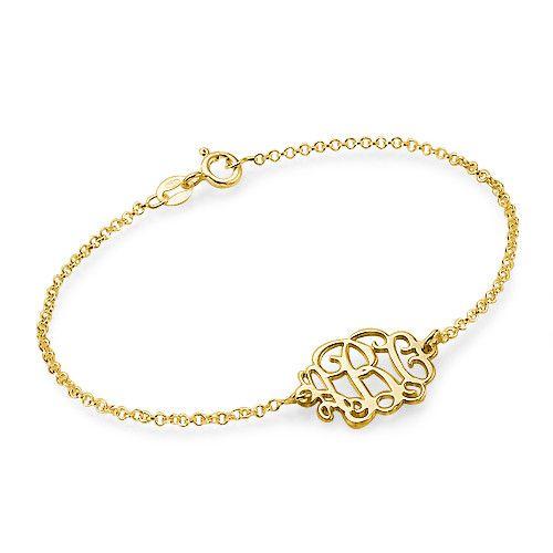 18k Gold Plated Sterling Silver Monogram Bracelet | MyNameNecklace