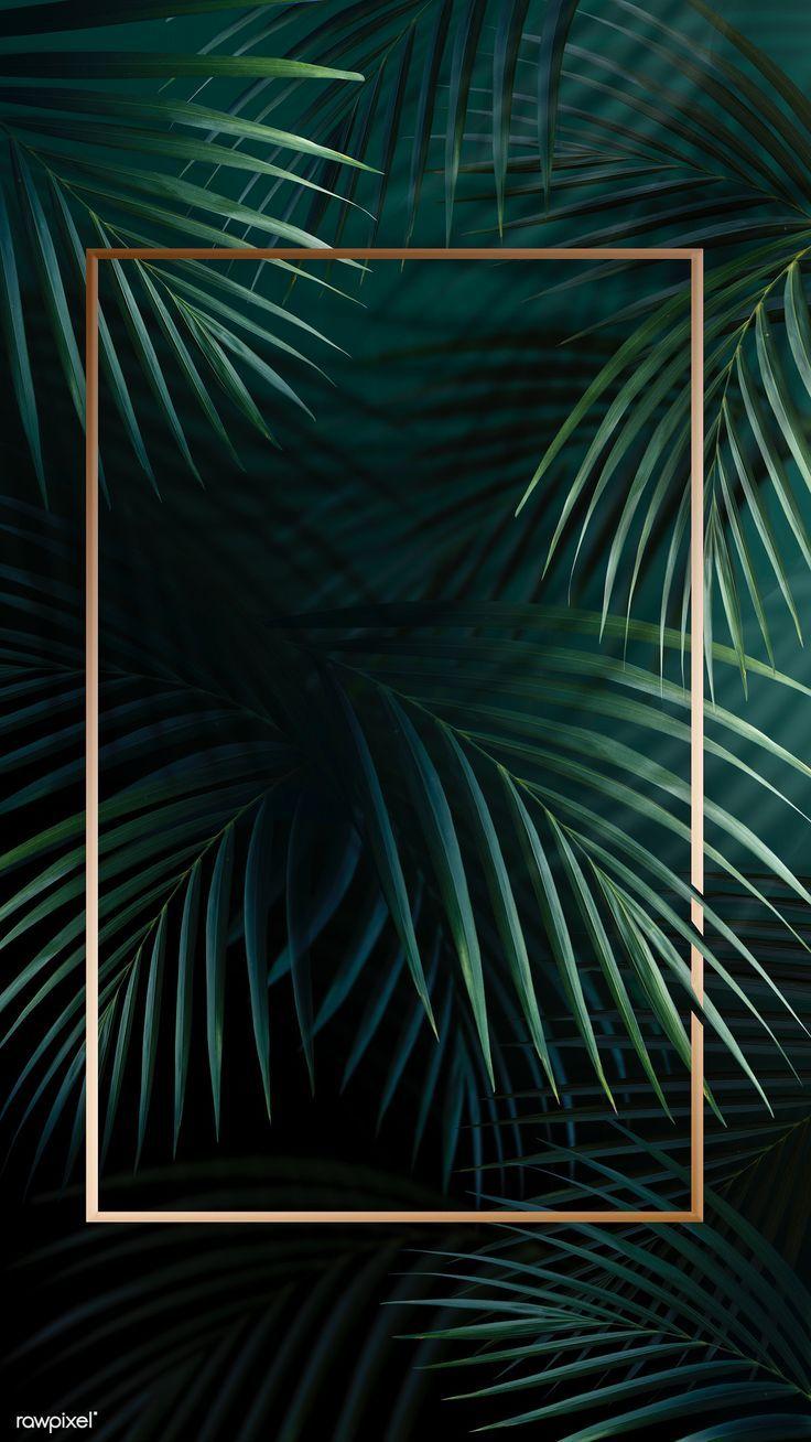 Download premium illustration of Rectangle golden frame on a tropical