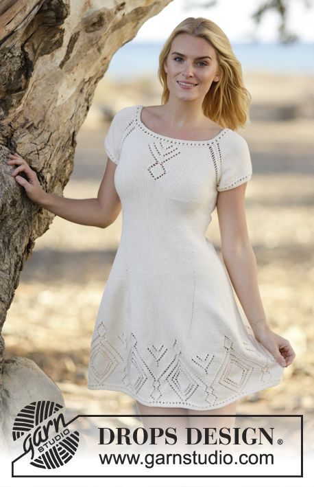 """Knitted DROPS dress with lace pattern and raglan in """"Muskat"""". Worked top down. Size: S - XXXL. ~ DROPS Design"""