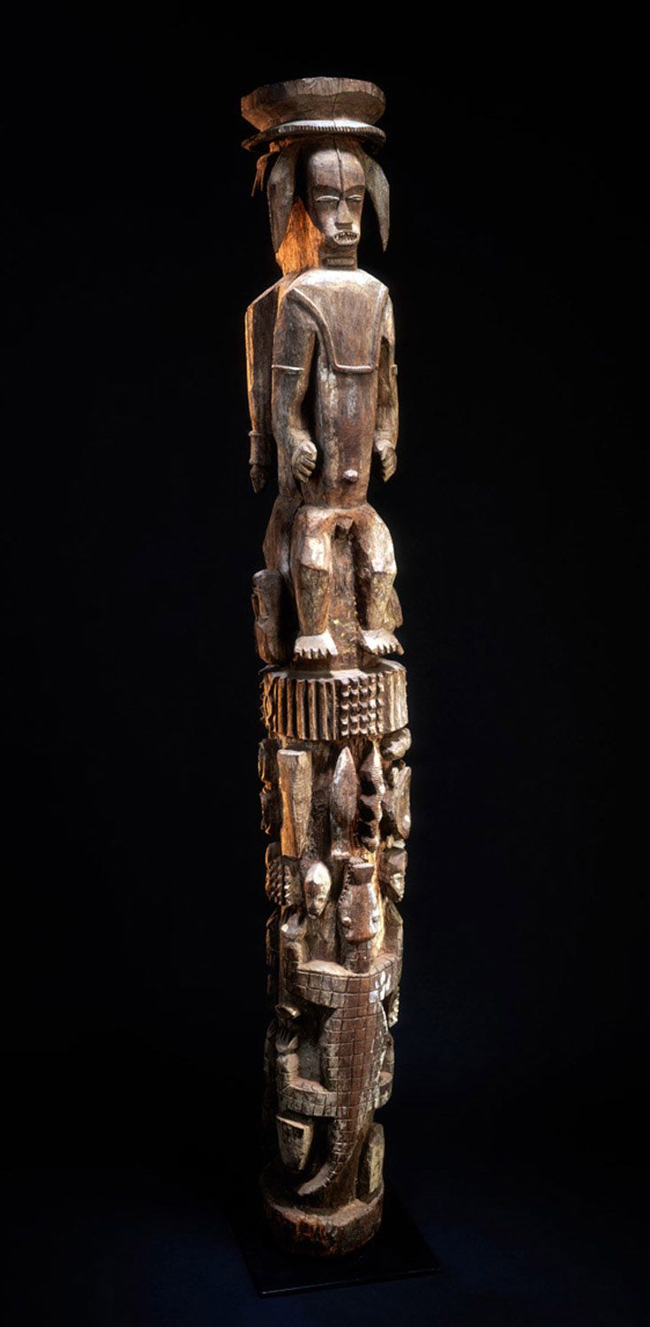 Africa | Post from a meeting house, from the Urhobo people of Nigeria | Wood