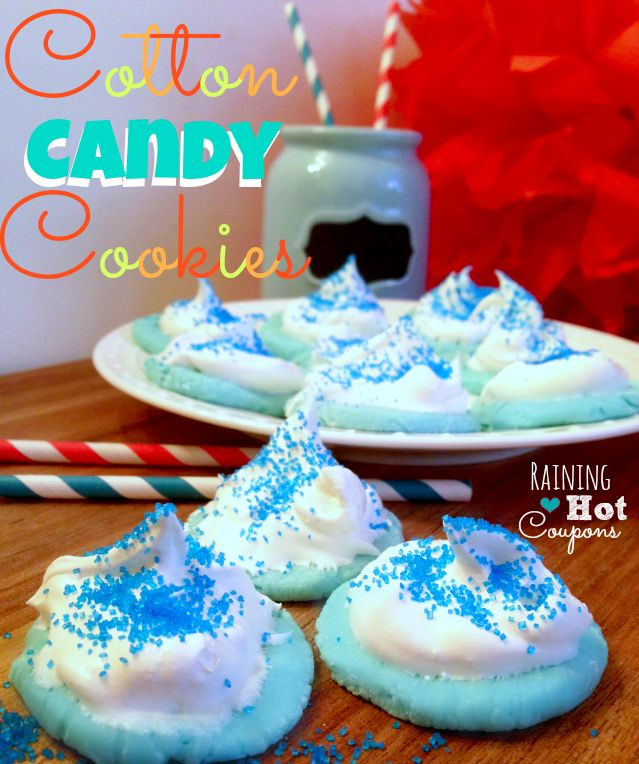 5-6 cups Powdered Sugar 1 Cup Sugar 8 oz cream cheese (softened) 1 packet of Duncan Hines Cotton Candy Frosting Creations (you can also use different flavors to get different flavored cookies). Whipped Cream   http://www.raininghotcoupons.com/cotton-candy-cookies-recipe/