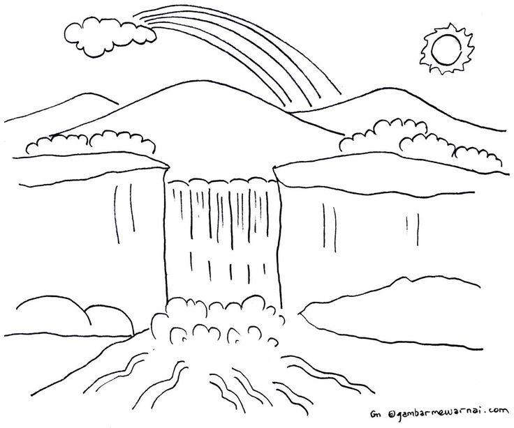 Lembar Mewarnai Pemandangan Alam