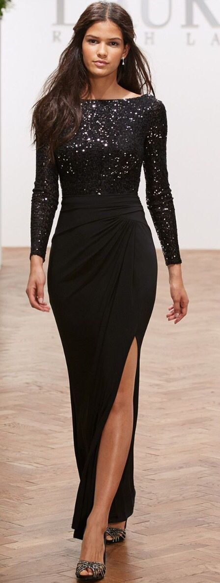 Lauren Ralph Lauren Long-Sleeve Sequin Gown - Dresses - Women - Macy's