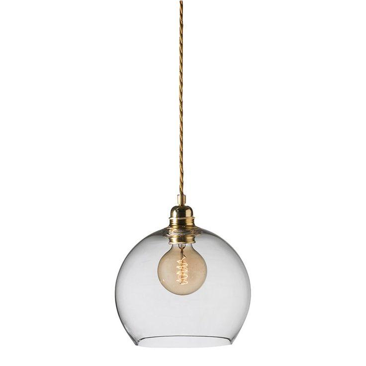 Rowan Taklampe Ø22cm, Klar/Messing, Ebb