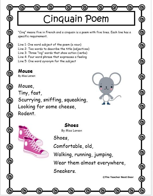This is an example of one of the handouts from The Teacher Next Door's Poetry Packet. The packet includes 21 different types of poetry forms with detailed directions, examples and student writing pages.
