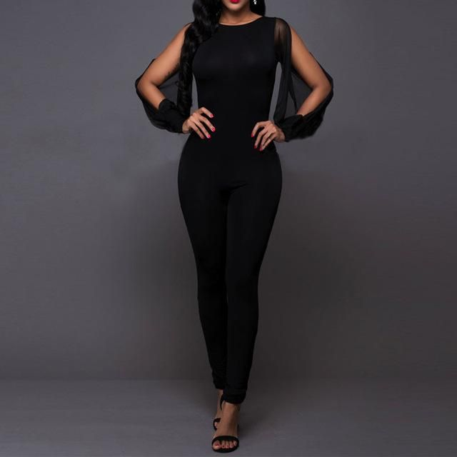 2017 Women Spring Black Jumpsuit Sexy Split Mesh Patchwork Long Sleeve Backless Overalls Bodycon Ladies Playsuits