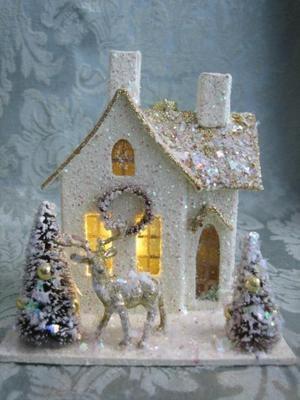 Vintage Style Putz Lighted Glitter House Bottle Brush Trees Reindeer Christmas | eBay