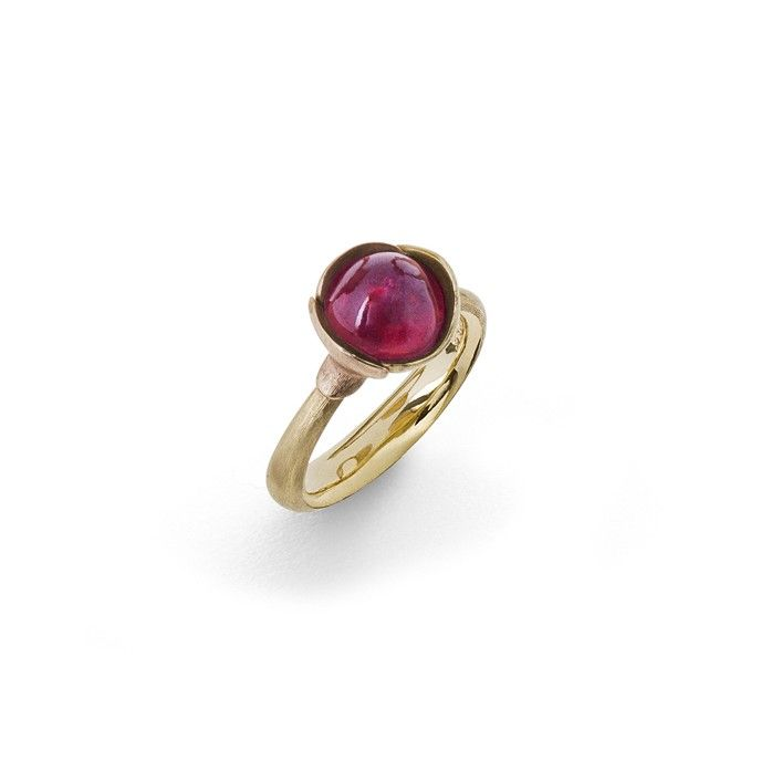 Lotus ring in 18K yellow gold with pink turmaline