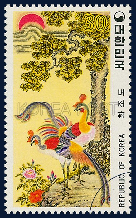Postage Stamps of Folk Painting, Series(Ⅲ), flowers and birds, Traditional Art, rainbow, 1980 07 10, 민화 시리즈(제3집), 1980년 07월 10일, 1182, 화조도, Postage 우표
