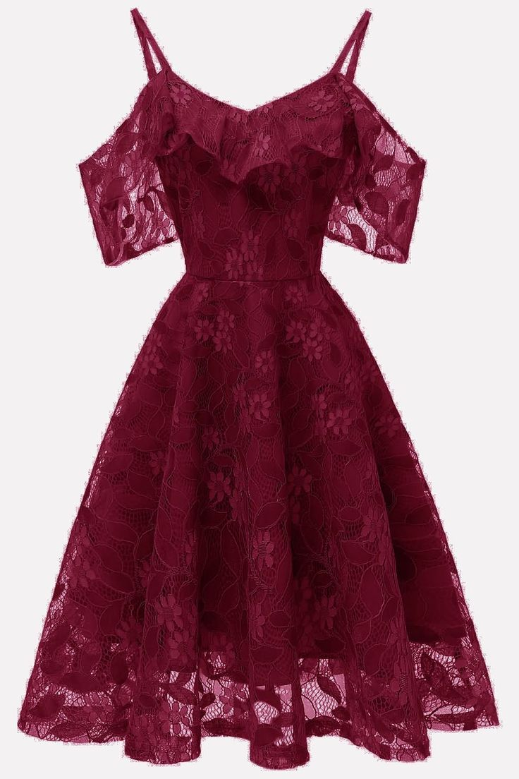 women red ruffles lace cold shoulder chic a line prom dress