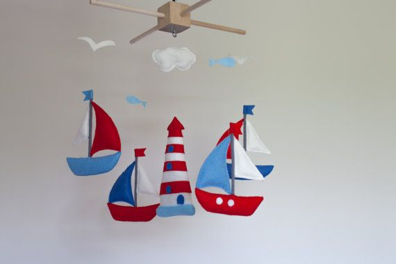 Baby mobile - sailboat baby crib mobile - felt sea mobile - lighthouse…