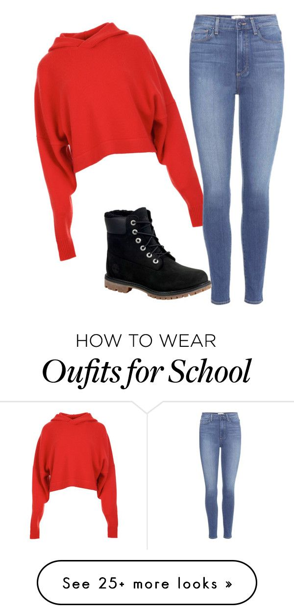 """school"" by anayaforever26 on Polyvore featuring TIBI, Paige Denim and Timberland"