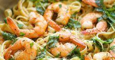 Spaghettis aux crevettes et à l'ail, pâtes