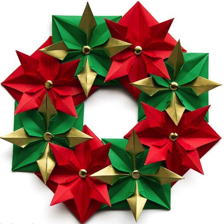 so k nnen sie einen weihnachtskranz selber basteln 50 ideen origami. Black Bedroom Furniture Sets. Home Design Ideas
