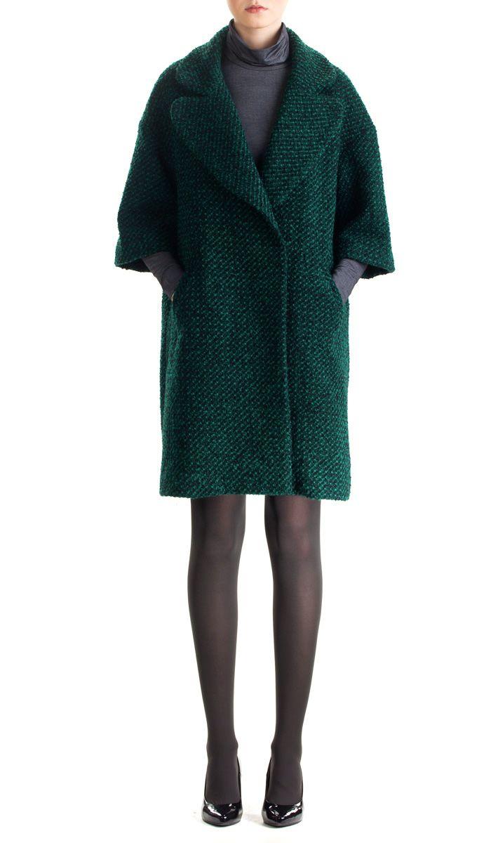 Зеленое буклированное пальто Sultanna Frantsuzova. В интернет-магазине --> http://sultannafrantsuzova-shop.ru/collection/wear/verhnyaya-odezhda/verhnyaya-odezhda_2918.html