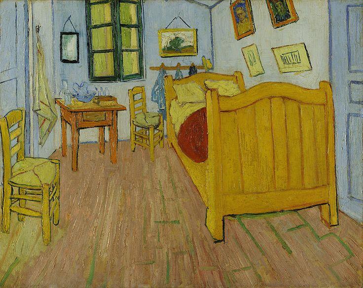 """Vincent van Gogh - Quarto em Arles (1ª version, 1888) Museu Van Gogh ..... """"Desta vez é muito simplesmente o meu quarto, aqui tem de ser só a cor a fazer tudo; dando através da simplificação um maior estilo às coisas, deverá sugerir a idéia de calma ou muito naturalmente de sono. Em resumo, a presença do quadro deve acalmar a cabeça, ou melhor, a fantasia."""" – Van Gogh"""