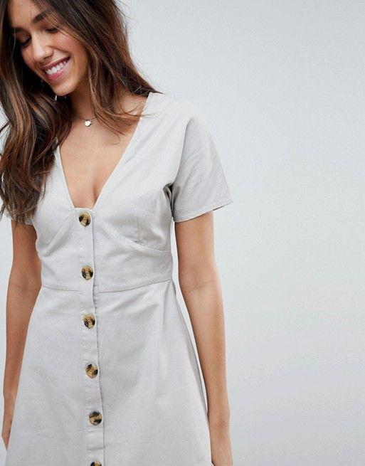 8d4256e1f6 DESIGN button through mini casual skater dress in 2019