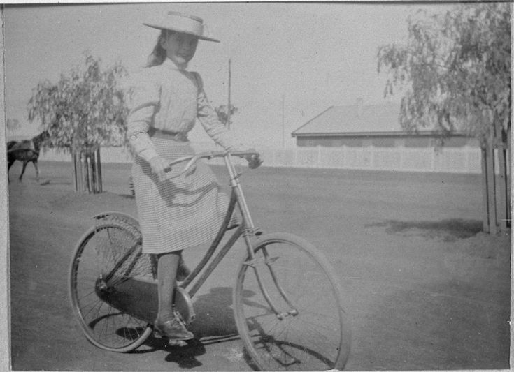 066708PD: Kitty Daniel riding bicycle, ca 1897 http://encore.slwa.wa.gov.au/iii/encore/record/C__Rb2012044?lang=eng