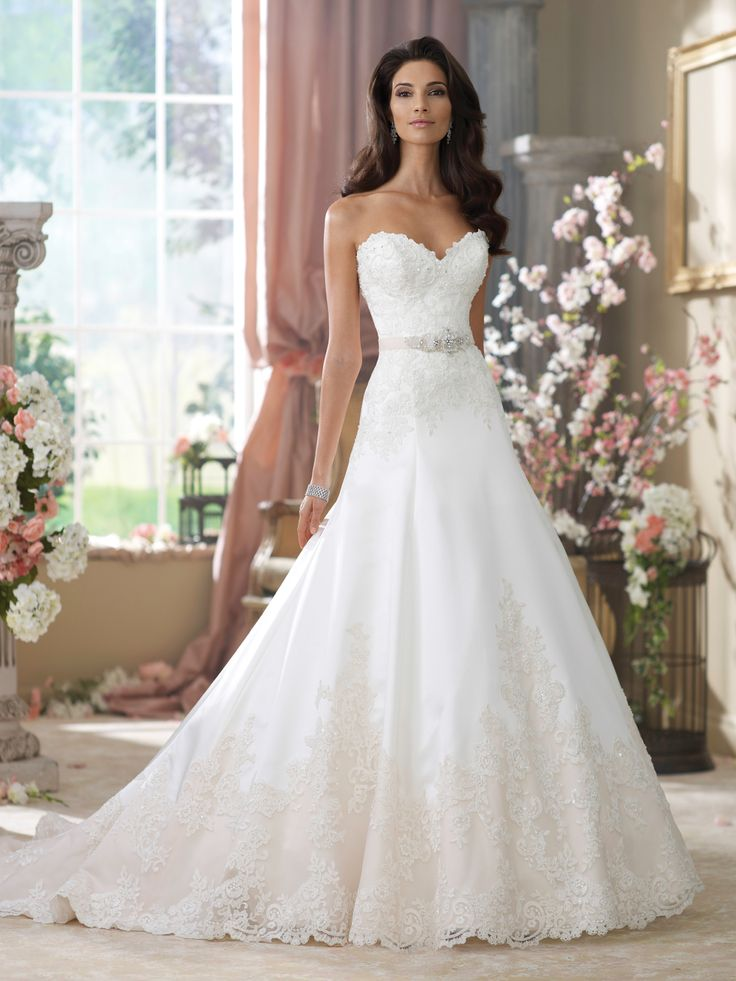 David Tutera for Mon Cheri | Style No. › 214203 | Wedding Dresses 2014 Collection – Strapless corded lace, tulle and tiara satin A-line wedd...