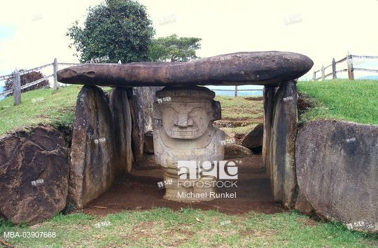Dolmen in Colombia, San Augustin, excavation-place, Dolmen, statue of gods, South America, stone-chamber, Andesit-sculpture, sculpture, statue, sight, attraction, symbol.