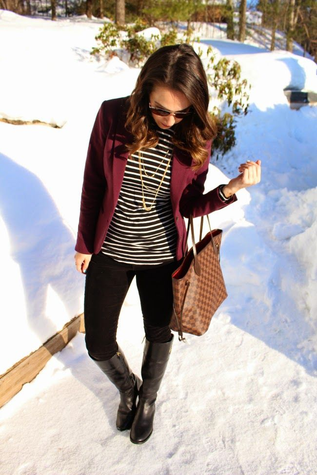 Black slim pants, striped tee, burgundy blazer, black riding boots