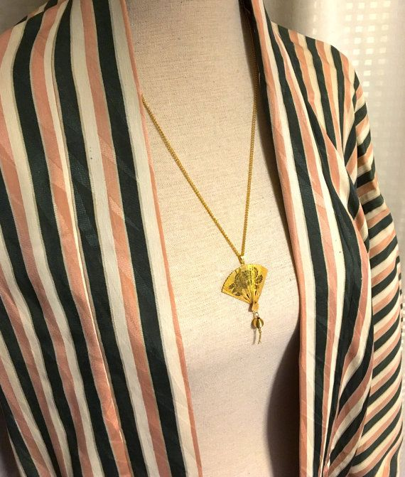 Gold Colored Fan Japanese Vintage Neckrace bonsai & by UkiYuki