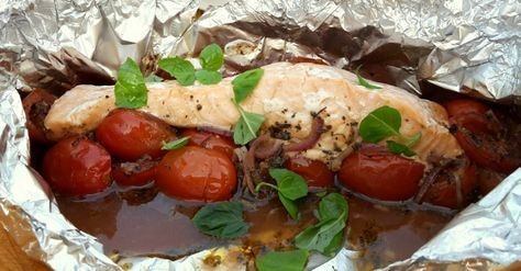KAROLA'S KITCHEN * PAPILLOT MET ZALM EN TOMAATJES OP DE BARBECUE - papillot with salmon, cherry tomatoes and balsamic vinegar