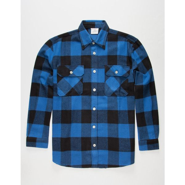 Rothco Heavyweight Mens Flannel Shirt ($50) ❤ liked on Polyvore featuring men's fashion, men's clothing, men's shirts, men's casual shirts and blue