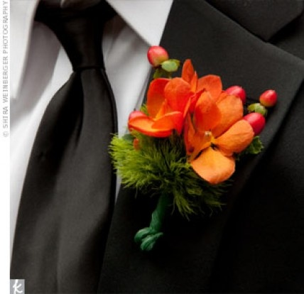 how to make wedding bouquets orange orchid boutonniere http theknot ninemsn au 5005