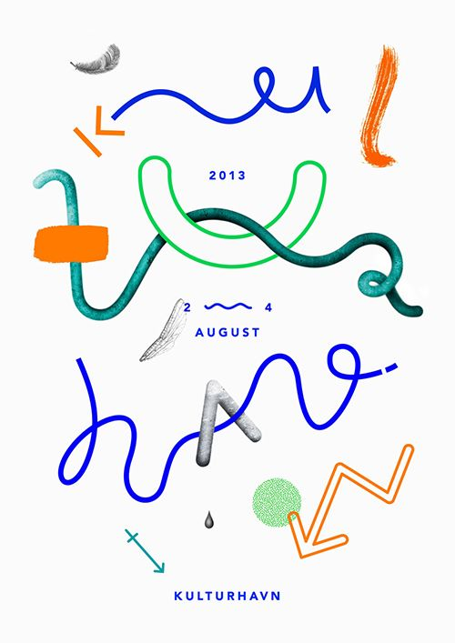 squiggly lines, a lot of white space, letters spread out over the page. Kulturhavn poster by Stinne Marie Wilhelmsen