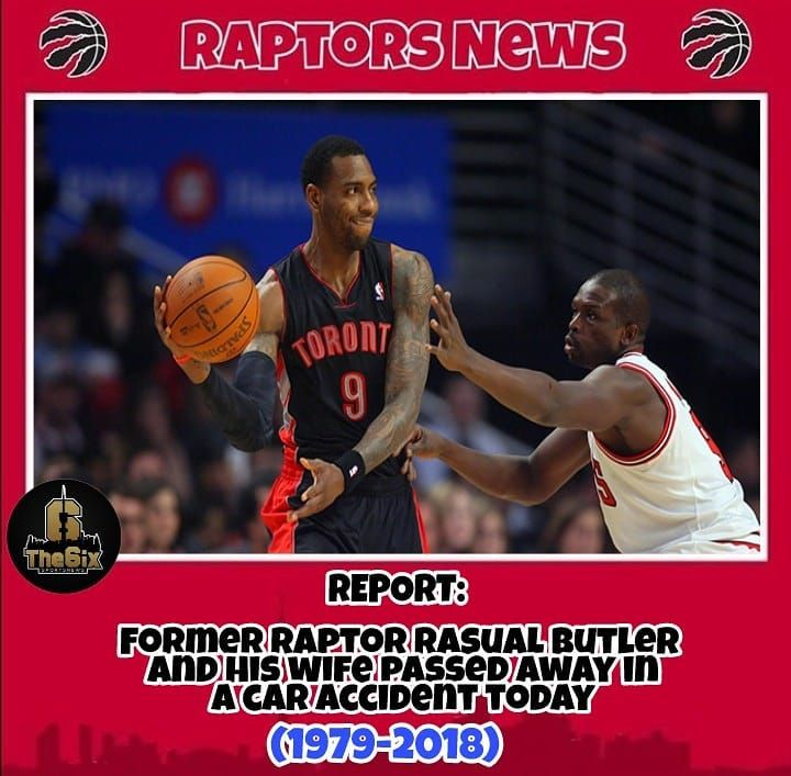 REPORT: Former Raptor Rasual Butler and his wife passed away in a Car accident today. R.I.P Rasual. . . . . #warriors #nba #basketball #nyknicks #knicks #raptors #torontoraptors #celtics #bostonceltics #sixers #philadelphiasixers #nets #lbj #playoff #heatnation #letsgoheat #ilovethisgame #slam #court #myteam #rockets #ballers #buckets #baloncesto #streetball #ballup #nbamemes #pelicans #hornets #mavericks