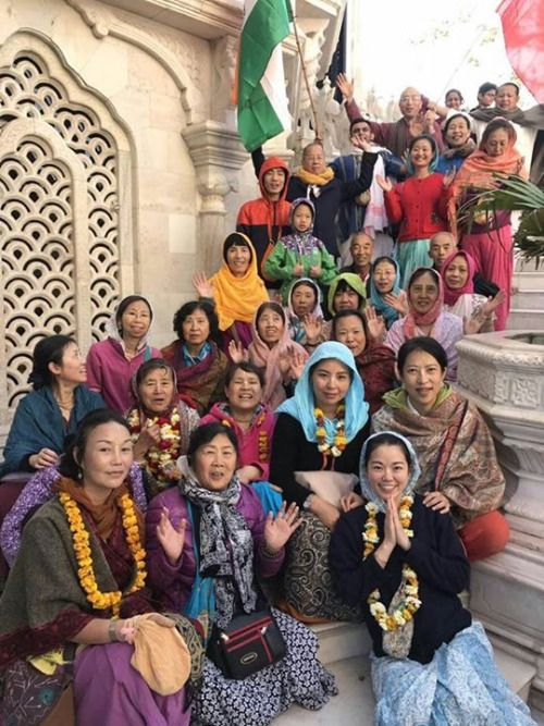 """Many devotees from a far away oriental country perform parikrama in Vrindavana for the first time in complete happiness (Album with photos) In Srila Prabhupada's Krsna book he writes: """"…"""