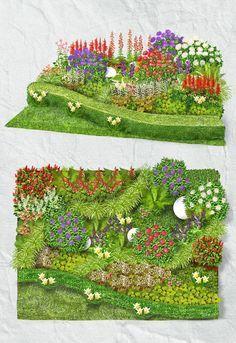 Schattenbeet: Attraktive und dauerhafte Schattenstauden wie Purpurglöckchen, Prachtspiere, Funkie und Bergenie bilden spannende Farb- und Formkontraste und passen in jeden Garten. Geschwungene Grasbänder der immergrünen Japan-Segge bringen eine zeitlose Formgestalt ins Beet und bodendeckende Pflanzen wie Elfenblume und Immergrün bilden ganzjährig dekorative blühende Teppiche. Schattenverträgliche Ball-Hortensien geben dem Beet elegante Ankerpunkte.