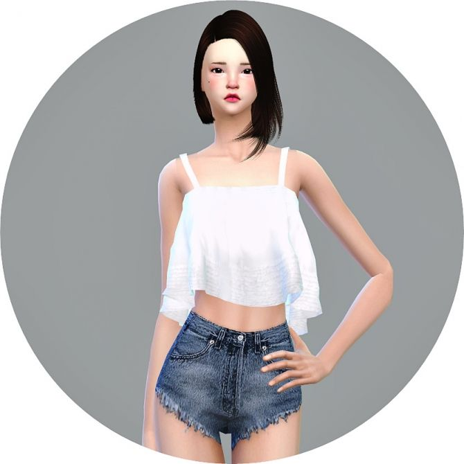 Ruffle Sleeveless Crop Top at Marigold via Sims 4 Updates