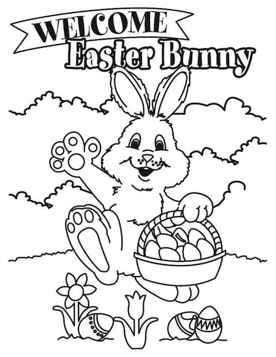 Amazing Easter Basket Coloring Pages Bunny Coloring Pages