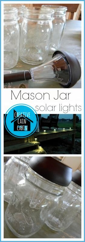 Mason Jar Solar Lights. Easy to assemble all you need is a hot glue gun.  Good for camping.
