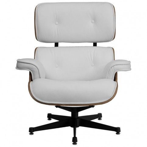 Marvelous HERCULES Presideo Top Grain White Italian Leather Lounge Chair And Ottoman  Set With Metal Base