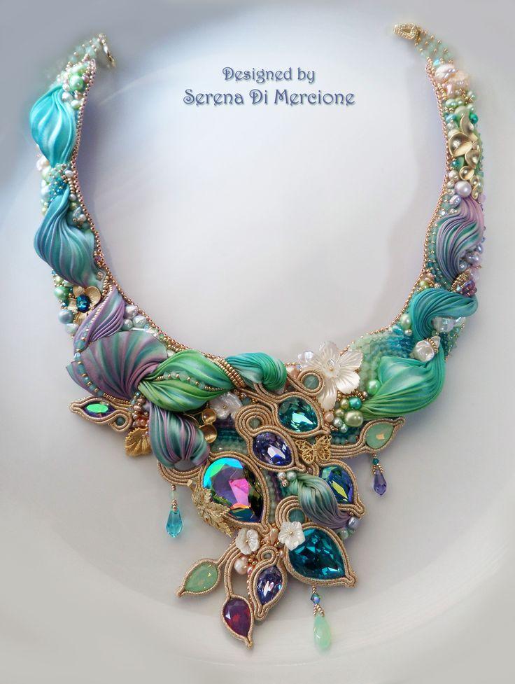 """""""SPRING GARDEN"""" Necklace (detail) --- Design by Serena Di Mercione --- beadembroidery, soutache, shibori silk, swarovski, pearls"""