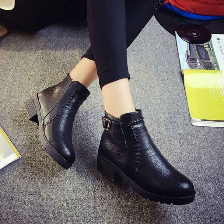 Ladies Ankle High Boots Warm Round Toe Boots Side Zipper Martin Boots - Gchoic.com #shoes #fashion #boots #popular #discount #cheap #under20 #warm #winter