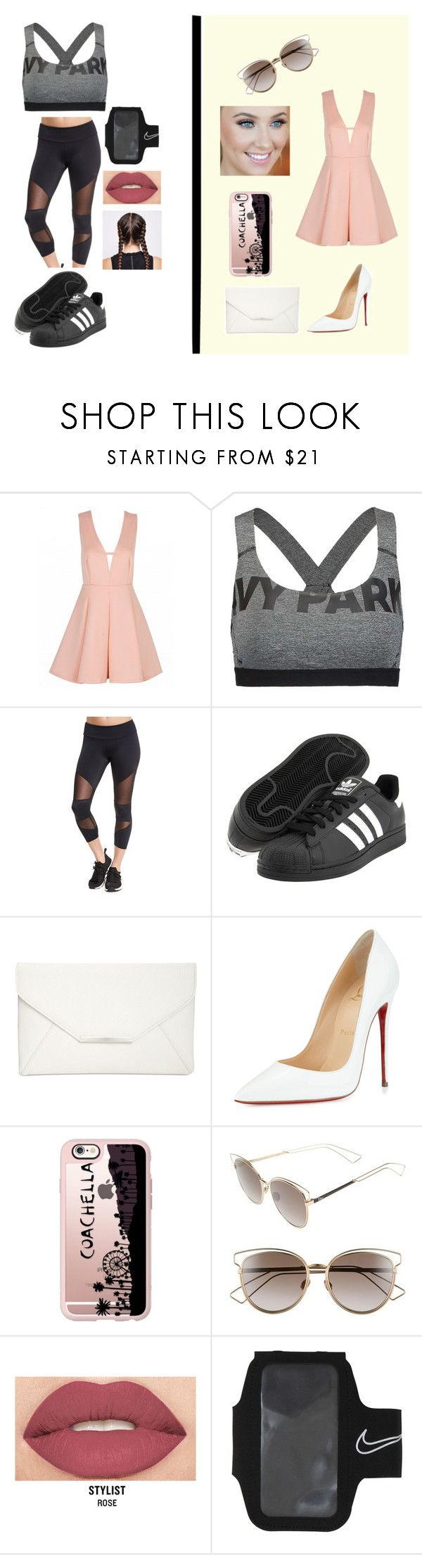 """""""Two moods 💋💄👗◾️🚴🏼🏋🏽⛹🏽"""" by marchante-ml ❤ liked on Polyvore featuring Ivy Park, Onzie, adidas Originals, Style & Co., Christian Louboutin, Casetify, Christian Dior, Smashbox and NIKE"""