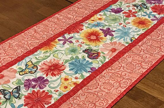 Quilted Spring Table Runner Red Floral Table Runner