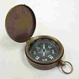 "Brass Pocket Compass with Lid and Antique Finish, Fleurdelis on Dial 1 3/4"" Diameter"