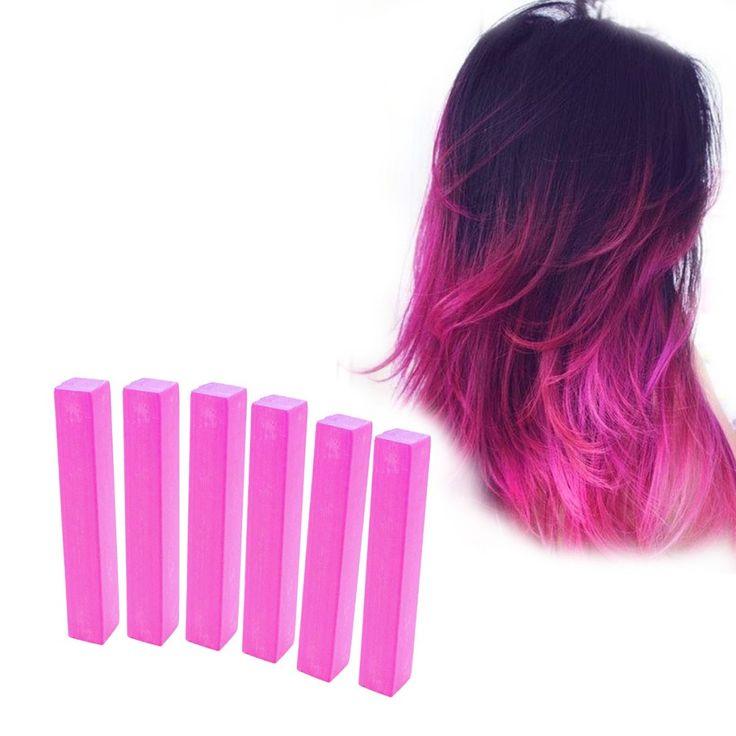 Shocking Pink Hair Dye | HOT PINK 6 Barbie Pink Hair CHalks | HairChalk  Shocking Pink Hair Color for your temporary hair dying fun! A complete 6 Hair Chalk Neon Pink hair kit