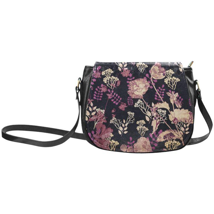 Anne,flowers,floral,black,pink, Classic Saddle Bag/Large (Model 1648)