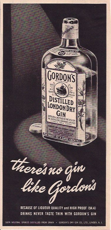 1940s There's No Gin Like Gordon's Advertisement by 9MilesOfWonder