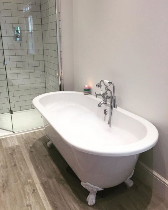 The roll top bath with white feet and the bath shower mixer tap   Rachel's Victorian Bathroom - Worcestershire