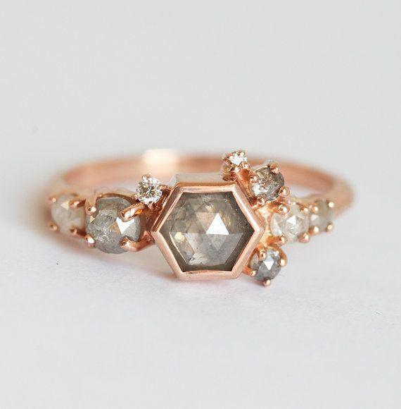 Diamond Cluster Ring Grey Diamond Ring Hexagon by MinimalVS