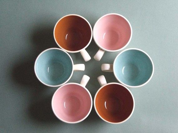 FREE SHIPPING Set of Six Vintage Chic Coffee Cups by RainbowRetro