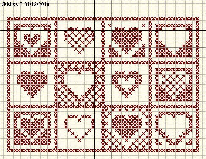 120 best images about tricot noel on pinterest kerst christmas cross stitches and christmas trees - Grille point de croix gratuite coeur ...